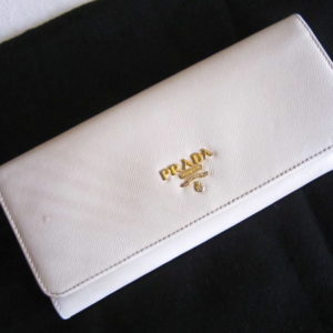 Prada Ivory Saffiano Leather Continental Long Wallet