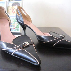 Prada Pink & Navy Mini Buckle Leather Heels