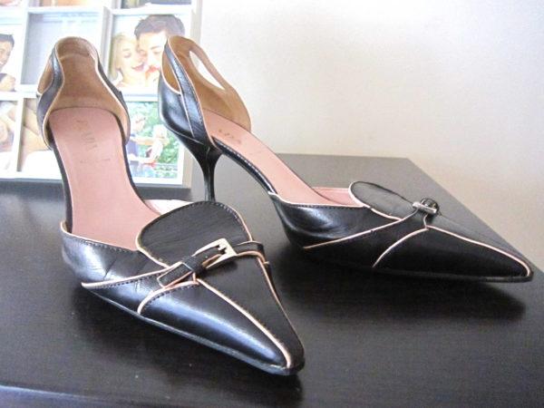 Prada Pink & Navy Mini Buckle Leather Heels
