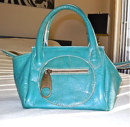 Regina Turquoise Patent Leather Handbag