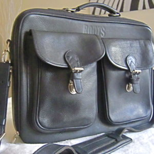 Roots Black Leather Briefcase
