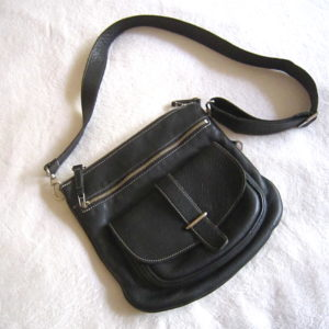 Roots Black Leather Crossbody Bag