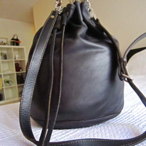 Rugby Black Leather Large Bucket Bag