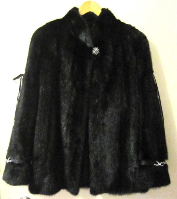 SAGA FURS Black Natural Mink Coat