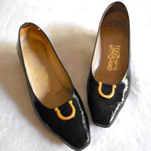 Salvatore Ferragamo Black Patent Gancini Heels