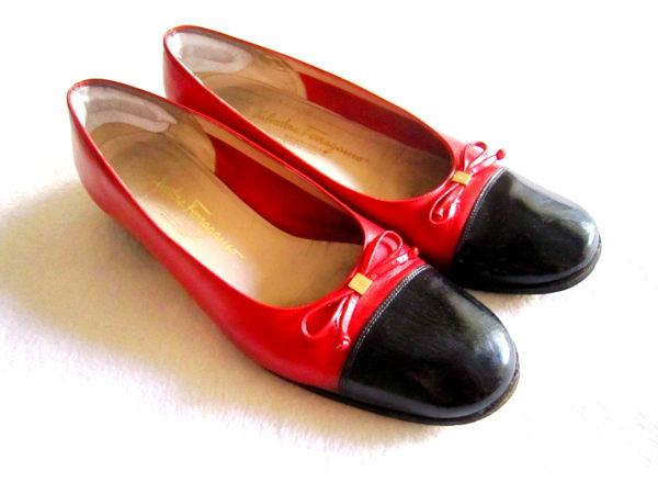 Salvatore Ferragamo Black & Red Ballet Flats