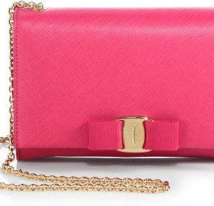 Salvatore Ferragamo Pink Miss Vara Bow Wallet on Chain