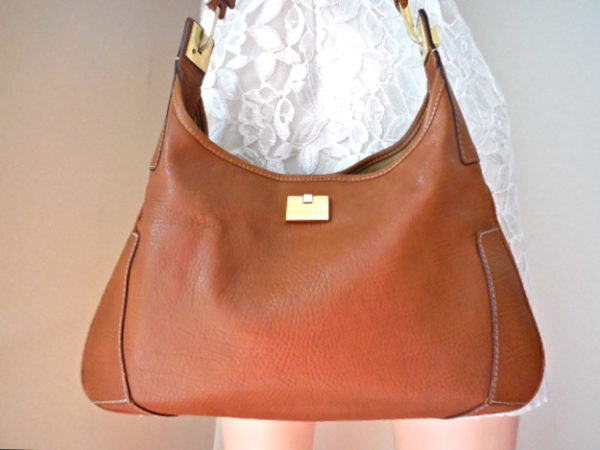 Salvatore Ferragamo Tan Leather Shoulder Bag