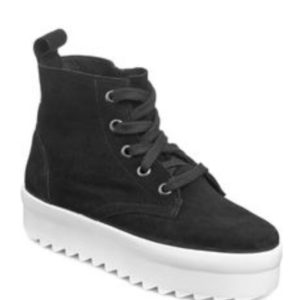 Shellys London Black Suede Murci Platform Sneakers