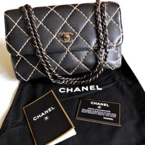 """Chanel Black Calfskin """"Surpique"""" Wild Stitch Flap 2.55 Handbag"""