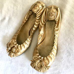 Tory Burch Gold Reese Ballet Flat