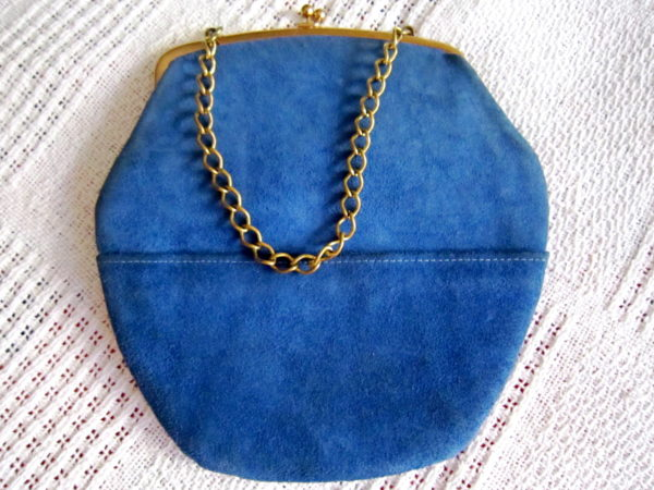 Triangle New York Blue Suede Kiss-Lock Handbag