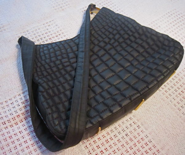 Valentino Orlandi Black Quilted Hobo Bag