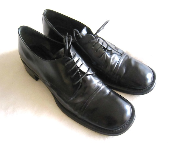 Via Spiga Men's Black Leather Oxford Shoes