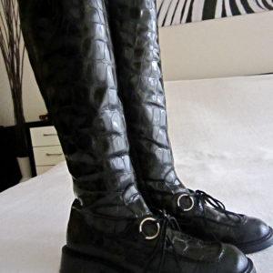 Vic Matie Black Croc Patent Leather Boots