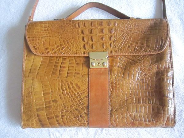 Vintage Mustard Croc Embossed Briefcase