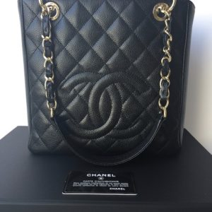 Chanel PST Black Caviar Petit Shopping Tote Bag