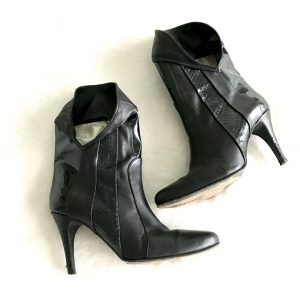 Furla Black Leather Ankle Boots