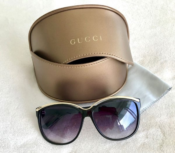 Gucci Oversized Black and Gold Sunglasses