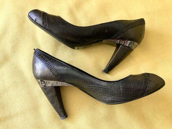 Exclusive Fendi Signature Peep Toe High Leather Heels