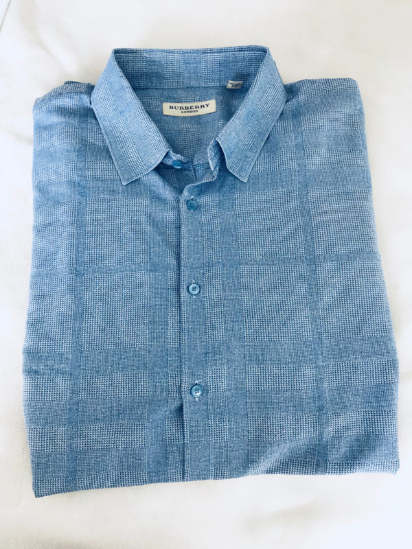 Burberry London Check Pale Blue Dress Shirt