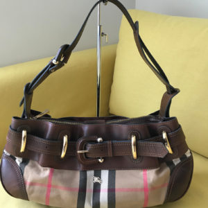 Burberry Check Canvas & Brown Leather Hobo Bag