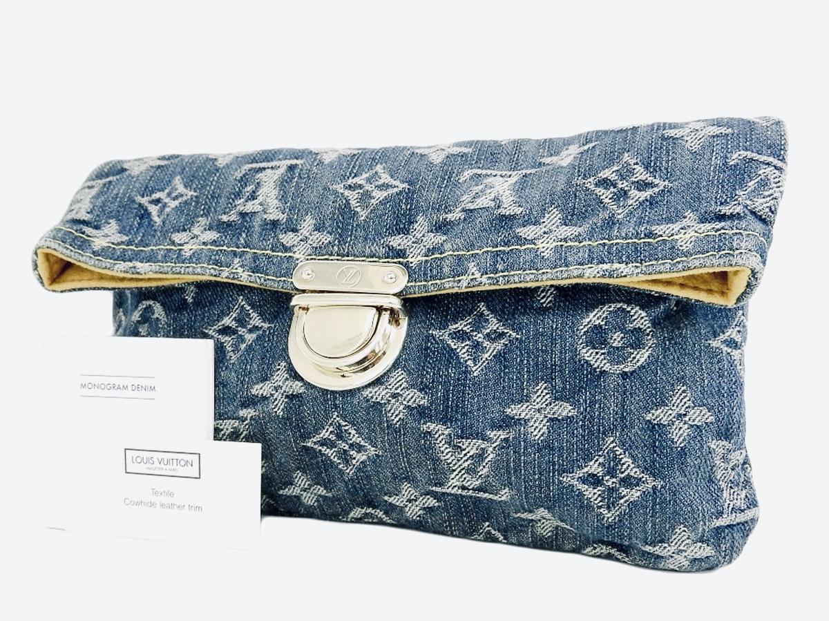 Louis Vuitton Plate Denim Clutch Luxurylana Boutique